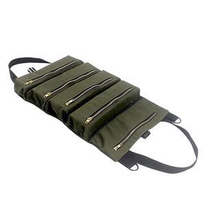 PENGGONG Werkzeug Rolltasche Reissverschlusstasche 5 Taschen Canvas Tool Organizer Tragbare Werkzeug Rolltasche Werkzeugtasche Arbeitstasche Reissverschluss Utility Tote