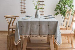 Quaste Tischdecke 140x140 Blau Kariert Baumwolle und Leinen Tischtuch Couchtisch Tischdecke Quadratisch Abwaschbar Küchentischabdeckung für Speisetisch (140x140,Blau)