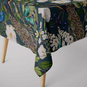 SCHÖNER LEBEN. Tischdecke Pfau Blüten petrol verschiedene Größen, Tischdecken Größe:100x100cm