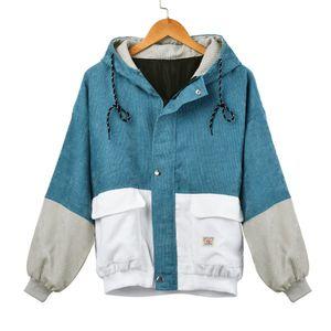 Damen Langarm Cord Patchwork Oversize Jacke Windbreaker Coat Mantel Größe:XXXL,Farbe:Blau