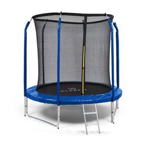 Klarfit Jumpstarter Trampolin Gartentrampolin  , Durchmesser: 2,5 m  , inneres Sicherheitsnetz  , Leiter aus vollverzinktem Stahl  , 3 zweipolige Standbeine  , Maximalgewicht: 120 kg  , dunkelblau