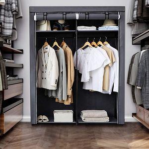 SONGMICS Kleiderschrank mit 2 Stangen faltbar 140 x 43 x 174 cm Stoffschrank Kleiderständer Garderobe Grau RYG02GY