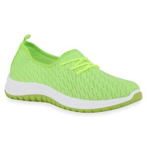 Mytrendshoe Damen Sportschuhe Laufschuhe Strick Profil-Sohle Sportliche Schuhe 834791, Farbe: Neon Grün, Größe: 38