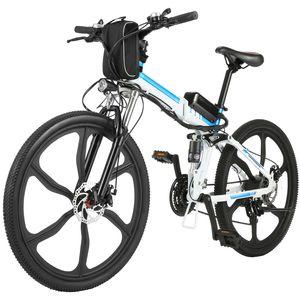 26 Zoll E-Bike Mountainbike 250W Motor 36V 8AH Abnehmbarer Lithium Akku 21-Gang, Faltbares Elektrofahrrad Klapprad Pedelec mit 6-Speichen-Rad Vollfederung