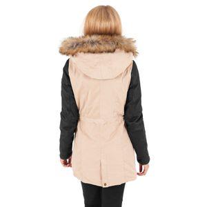 Urban Classics - Ladies Leather Imitation Sleeve Parka TB1091 sand/blk Damen Jacke Herbst Winter