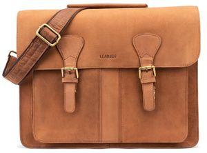 LEABAGS Scottdale Aktentasche 15 Zoll Laptoptasche aus echtem Leder im Vintage Look, Farbe:Braun