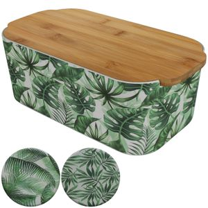 Brotkasten mit grünen Blätter und Bambusdeckel Brotbox Bambus Brotbehälter Schneidebrett Brotkiste Holz