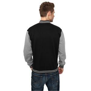 Urban Classics - 2-tone College Sweatjacke, College Jacke TB207 black/grey Größe M