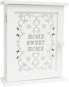 Schlüsselkasten Home Sweet Home Schlüsselbox Schlüsselablage zum Aufhängen im, Shabby Chic Stil  L x H x B - 20 cm x 24.50 cm x 6.50 cm  Weiß