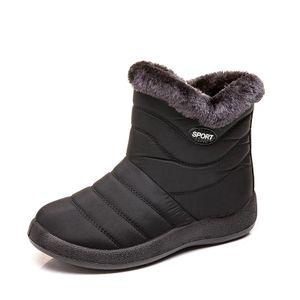 Damen Winter Schneeschuhe Warm und antiskid Seitlicher Wasserdicht Reißverschluss Stiefel,Farbe: Schwarz,Größe:40