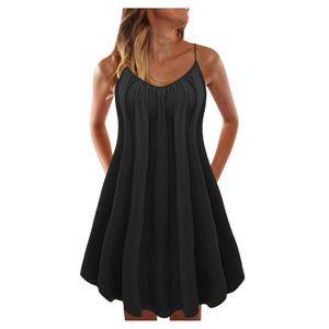 2021 Damenmode und lässiger Sommer Multicolor y einfarbiges Strandkleid Größe:L,Farbe:Schwarz
