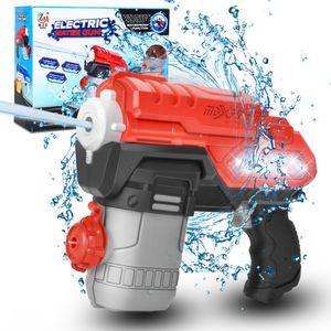 Wasserpistole Elektrische Wasserblaster mit LED Licht wasserdicht 300cc Kapazität 30ft Reichweite Wasserspielzeug für Garten Sommer Partys Schwimmbad Kinder Erwachsene Schwarz