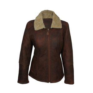 Eastern Counties Leather Damen-Fliegerjacke Hillary aus Schaffell EL192 (40 DE) (Braun)