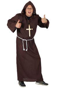 Deluxe Mönch Kostüm braun lang, Größe:XXXL