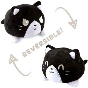Doppelseitige Flip Katze Puppe Plüschtier Niedlichen Flip Sanft  Plüsch Katze-Schwarze Katze 15cm