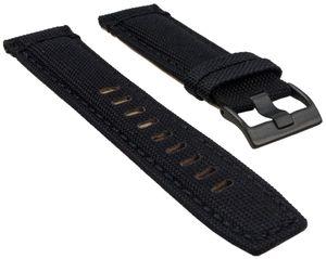 Timex Ersatzband Uhrenarmband Leder/Textil schwarz 22mm für T49820, T49821, T49822
