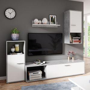 Mirjan24 Wohnwand Aran, Stilvoll Wohnzimmer-Set, Mediawand, Wohnmöbel (Atelier Hell / Perlweiß, ohne Beleuchtung)