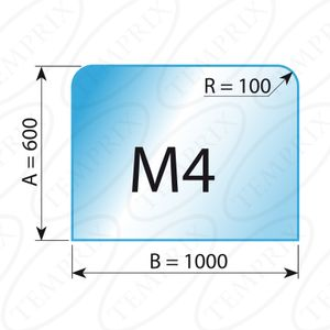 Kaminbodenplatte Transparent Form M4  600 x 1000 x 6mm - Version ECO (Tragkraft bis 550 Kg)