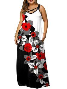 Damen Plus Size Blumenmuster V-Ausschnitt Ärmellos Rückenfrei Maxikleid Sommerkleid, Weiß, XL