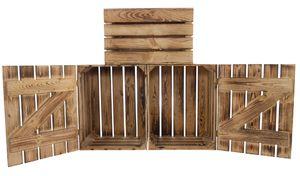 2x neue Holztruhe | geflammt für schöne Holzmaserung | 48x36x28cm | Couchtisch, Geschenkkiste
