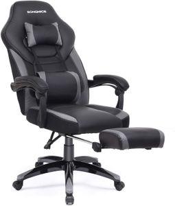 SONGMICS Bürostuhl | Schreibtischstuhl | Cheffsessel | Racing Stuhl | bis zu 150 kg belastbar | ergonomisches Design | schwarz-grau OBG77BG