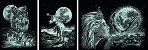 Scraper Kratzbilder 3er Set Silber - Mondschein