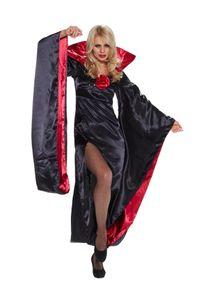 Damen Kostüm Lady Dracula Kleid mit Fledermausärmeln, Größe:XS/S