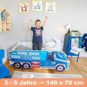 Alcube Kinderbett Autobett Lkw Polizei 70x140 cm Jugendbett Juniorbett TRUCK Spielbett Kindermöbel - Blau