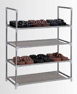 Schuhregal für 12 Paar Schuhe - aus Stahl + Stoff