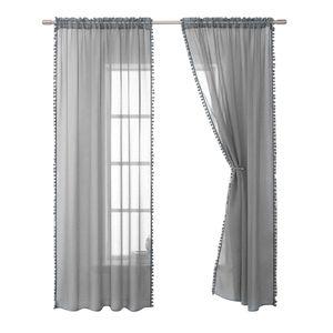 Home Sheer Leinen Strukturierte Vorhaenge mit Spitze Halbtransparente Vorhaenge Leichter Luftiger Atmungsaktiver Stoff Fensterdekor fuer Schlafzimmer Wohnzimmer Esszimmer 2 Panels