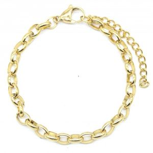 gliederarmband Chain damen 4 mm edelstahl gold