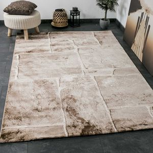 Klassischer Tibet Teppich, sehr dicht gewebt, mit Stein Mauer Muster Beige Braun - T7413, Maße:120 cm x 170 cm