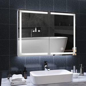 Spiegelschrank Badezimmerschrank mit LED Beleuchtung - 78 x 58 cm, EEK A++, Touchschalter, Dimmbar 3in1 Kaltweiß Neutral Warmweiß Einstellbar, - Badezimmerspiegel, Lichtspiegel, LED