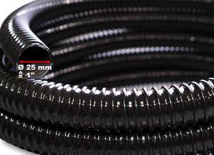 """1.1€/m 25m Teichschlauch Spiralschlauch 25mm (1"""") flexibel schwarz Saugschlauch"""