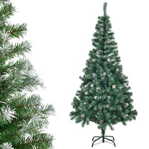 Juskys Weihnachtsbaum 180 cm künstlich mit Schnee & Ständer – Tannenbaum naturgetreu – Deko Christbaum für Innen - Weihnachtsdeko grün / weiß