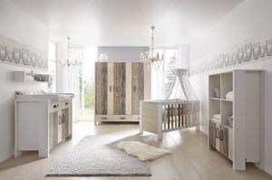 Schardt Kinderzimmer Woody bestehend aus Kombi-Kinderbett (inklusive Umbauseiten), Wickelkommode mit Wickelaufsatz und 3-türigem Kleiderschrank