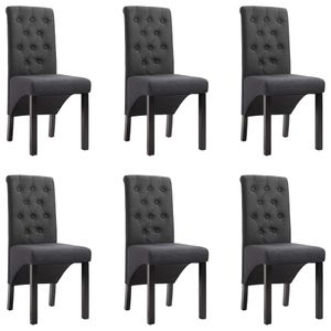 vidaXL Esszimmerstühle 6 Stk. Dunkelgrau Stoff