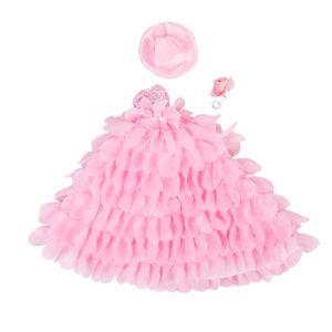 Rosa Brauthochzeitskleid Spitze Blumenkleid Mit Hut Und Blume Für Barbie-Puppen