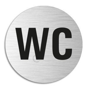 Türschild - WC |  Toilettenschild Ø 75 mm | Edelstahloptik selbstklebend