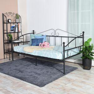 H.J WeDoo Tagesbett mit Lattenrost Metallbett Bettrahmen, Bettsofa Schlafsofa für Schlafzimmer Wohnzimmer, Schwarz 90 x 200 cm
