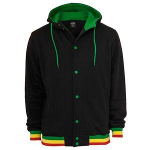 Urban Classics Hooded College Sweatjacket, Farbe:blk/rasta, Größe:S