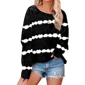 Damen gestreifte lässige lose lange Ärmel T-Shirt Pullover Top Sweatshirt,Farbe: schwarz,Größe:XXL