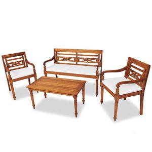 BESTSELLER 4-tlg. Gartengarnitur   Gartenmöbel Set mit Tisch & Stühlen   Balkonmöbel   Essgruppe für Personen mit Auflagen Massivholz Teak Gute Qualität @2895