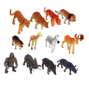 12pcs Künstliche Wildtiere Figuren Waldtiere Spielzeug mit Tiger Giraffen Elefanten Zebra Wildschweine Leoparden Utan Nilpferd usw.