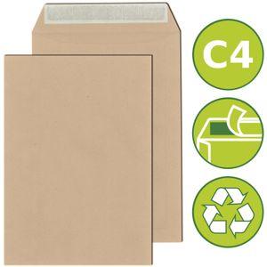 500 x Versandtaschen Briefumschläge DIN C4 haftklebend 229x324mm Braun