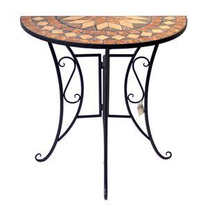 Mosaik Gartentisch halbrund 70x35cm Gestell Eisen / Platte Keramik