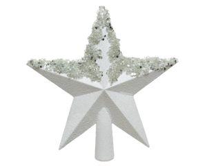 Christbaumspitze Stern mit Glitzer 20cm Kunststoff, weiß