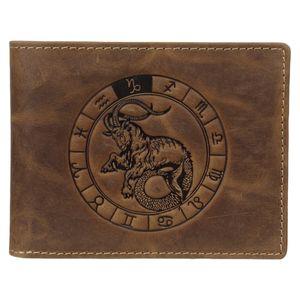 Greenburry Geldbörse Herren Leder braun antik Vintage mit Sternzeichen Motiv STEINBOCK Prägung Portemonnaie 12,5 x 9,5cm