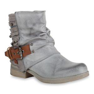 Mytrendshoe Damen Biker Boots Glitzer Stiefeletten Bikerstiefel Nieten Schuhe 820769, Farbe: Grau, Größe: 36