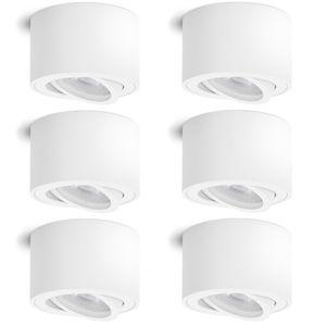 6 Stück Aufbauleuchte SMOL schwenkbar in weiß matt & rund mit LED 5W warmweiß 230V